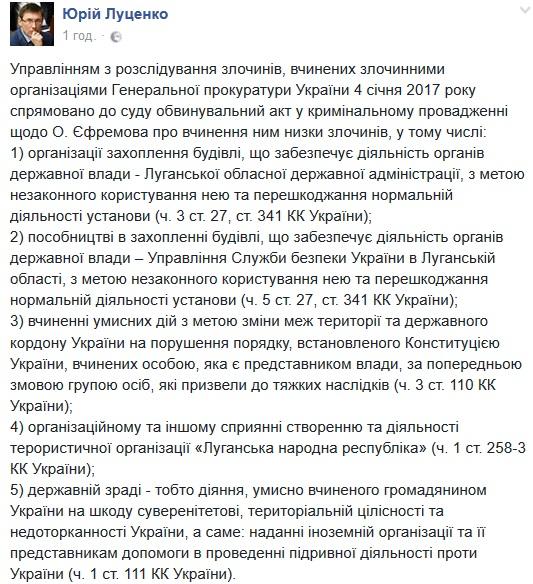 «Покушение натерриториальную целостность Украинского государства и остальные преступления»: Ефремову вручили обвинительный акт