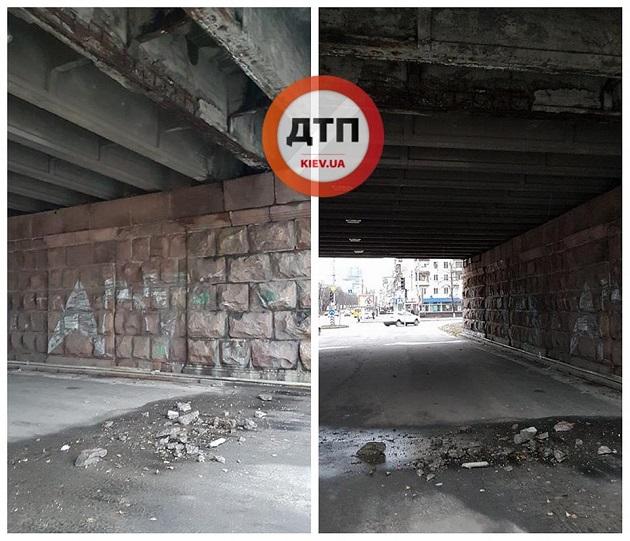УКиєві руйнується Повітрофлотський міст— шматки бетону падають напроїжджу частину