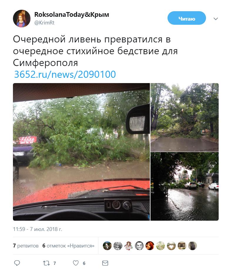 Ливень затопил оккупированный Симферополь