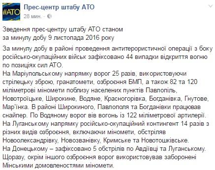 Боевики обстреливают бойцов АТО навсех направлениях,— штаб
