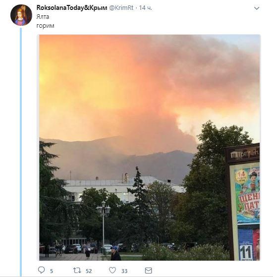 Взаповеднике под Ялтой начался сильный лесной пожар