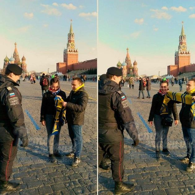 Фанатов русского клуба «повязали» около Кремля из-за желто-синей символики