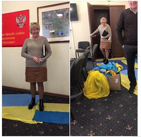 Мэр Горловки показательно топтал украинский флаг— Новый ковролин