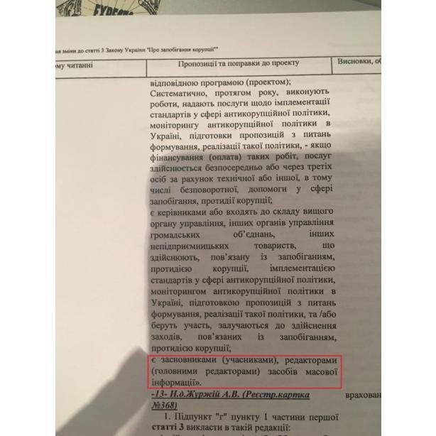 Черновол предлагает обязать работников СМИ подавать е-декларации