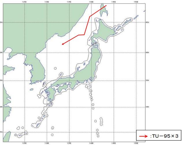 Минобороны Японии показало траекторию полета российских бомбардировщиков