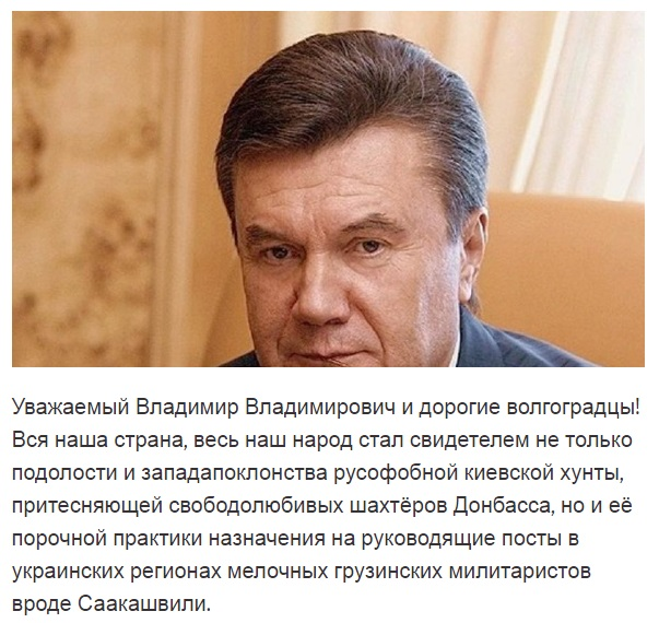Волгоградцы просят В. Путина назначить губернатором Януковича, чтобы регион «начал процветать»