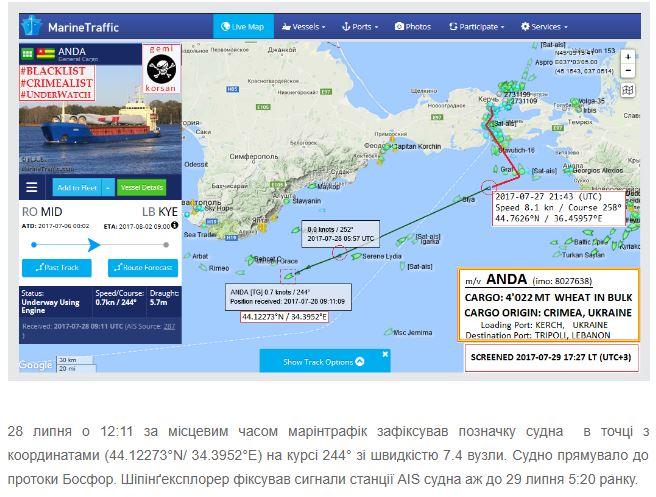 Уберегов Крыма потерпел бедствие сухогруз