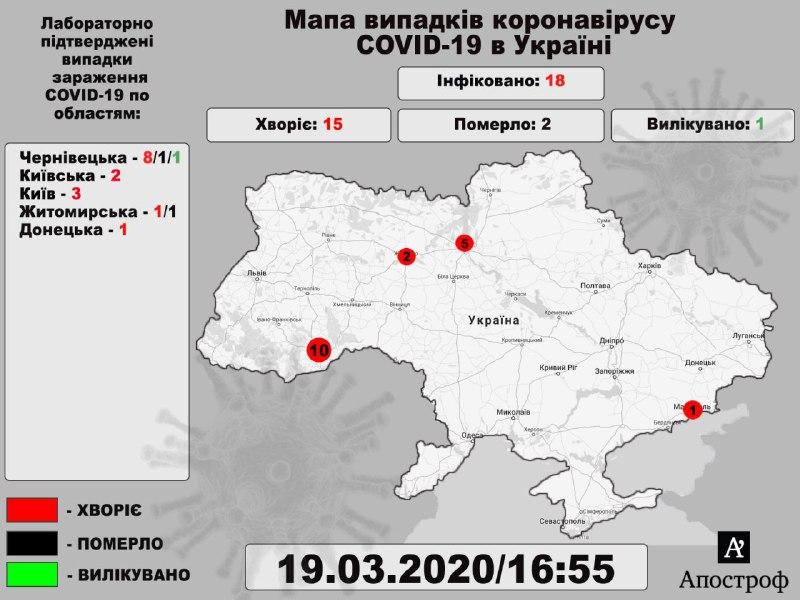 Еще один больной в Киеве: актуальная карта коронавируса по Украине