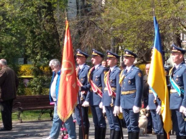 ВКиеве напразднике военного института могли видеть советский флаг