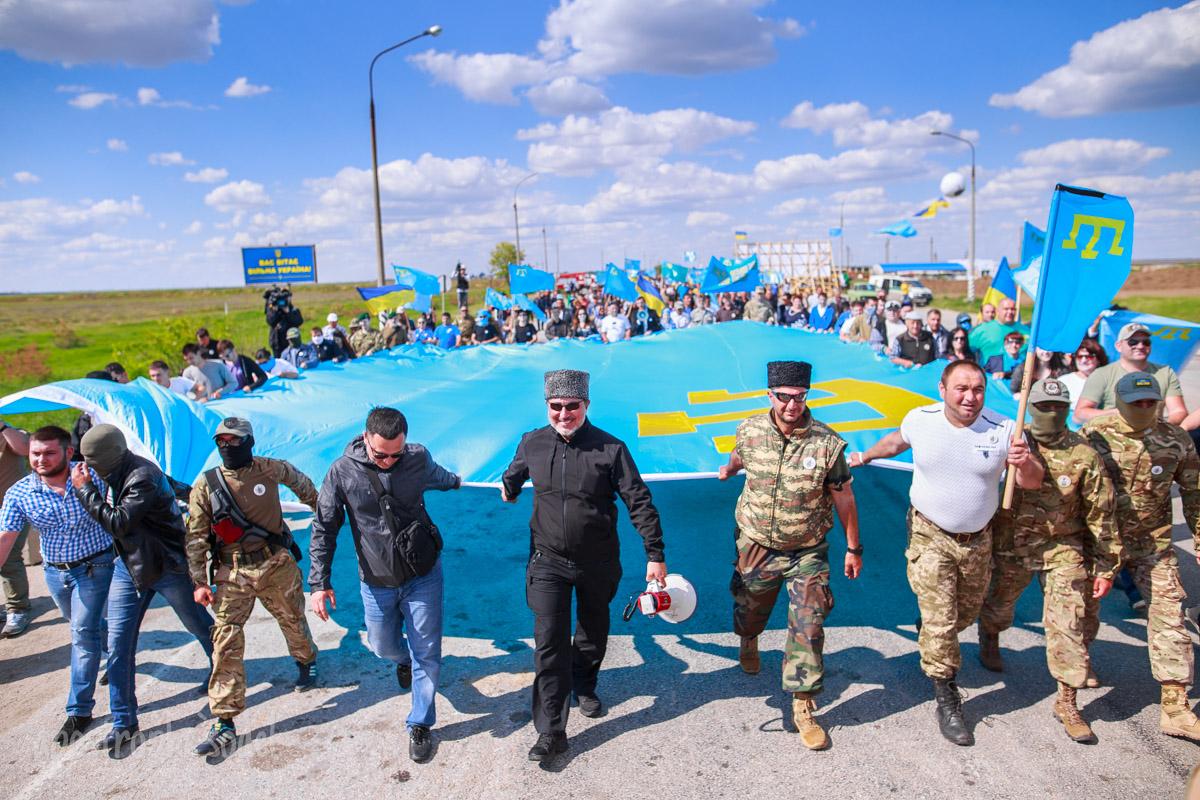 """На КПП """"Чонгар"""" прошла акция, посвященная 72-й годовщине депортации крымскотатарского народа"""
