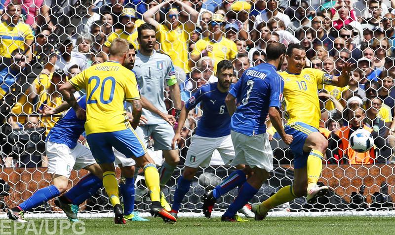 Во втором туре группового раунда Евро-2016 в квартете Е Италия победила Швецию и вышла в плей-офф