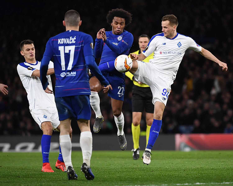 Динамо сыграло с Челси в ответном матче 1/8 финала Лиги Европы