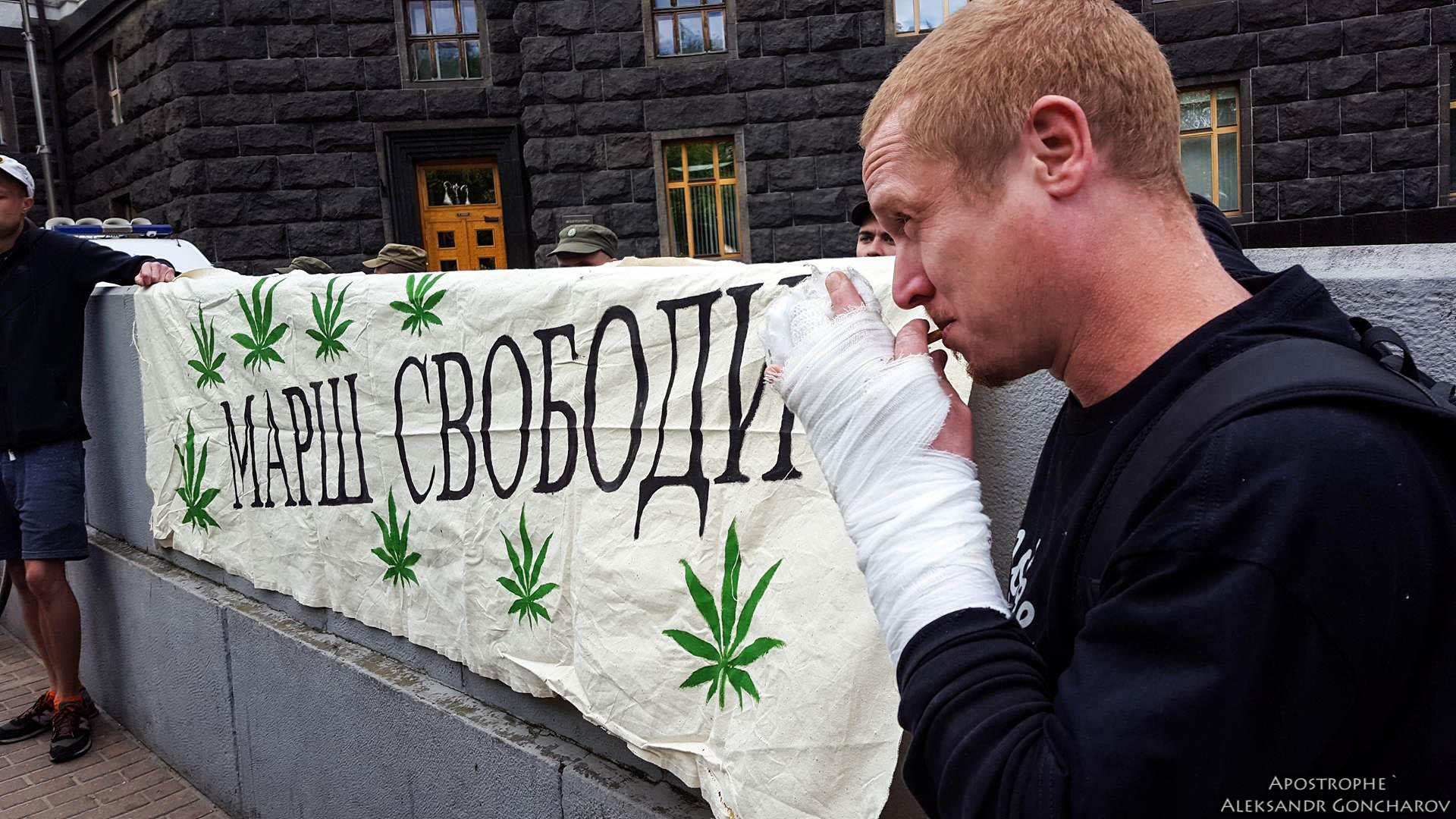 В Киеве под Кабмин принесли большие листья конопли: эксклюзивные фото/В Киеве протестовали по вопросу хранения марихуаны