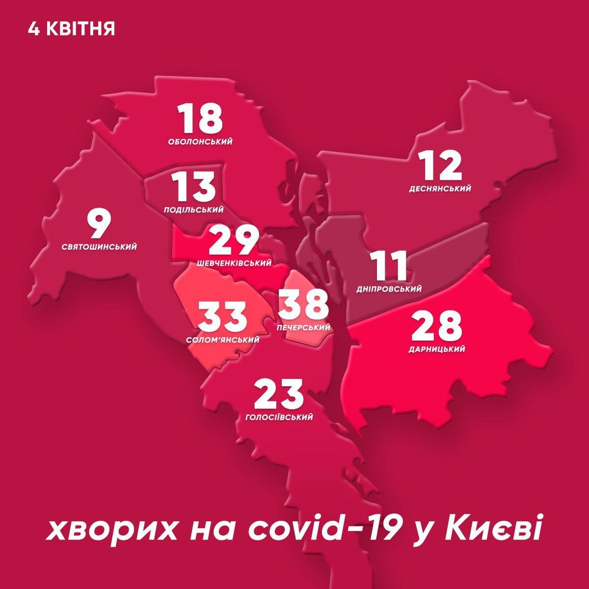 Коронавирус в Киеве: обновленная карта с самыми зараженными районами