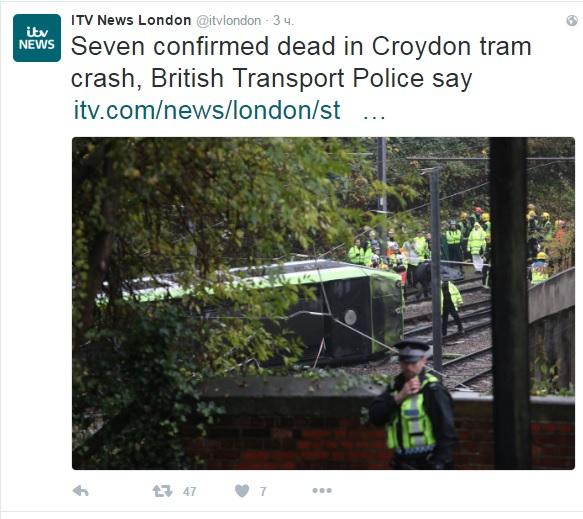Встолице Англии погибли семь пассажиров сошедшего срельсов трамвая